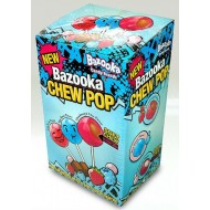 Bazooka Lollipops Soft Chew Blue Razz Tutti Frutti Strawberry & Choc Flavour 100 Pcs